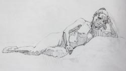 Female Nude Reclining - Pencil
