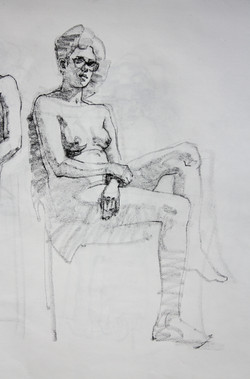 Female Model with Glasses - Pencil