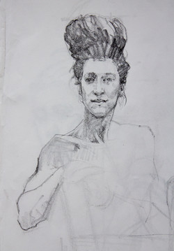 Female Head Study - Pencil