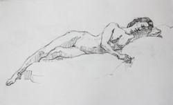 Female Model Reclining - Pencil
