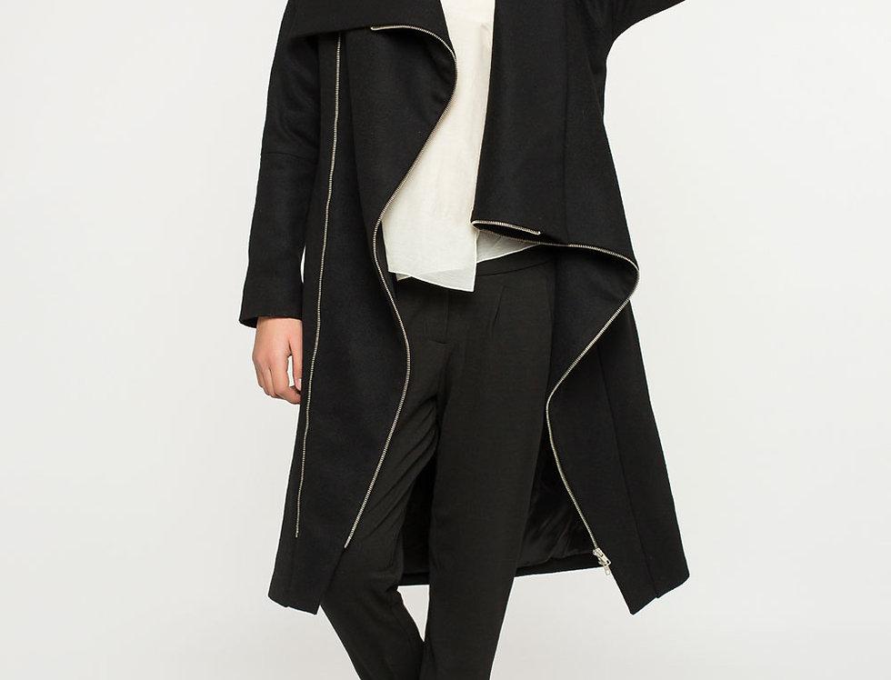 утепленое пальто на косых молниях