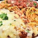 Eggplant Parmesan and spaghetti