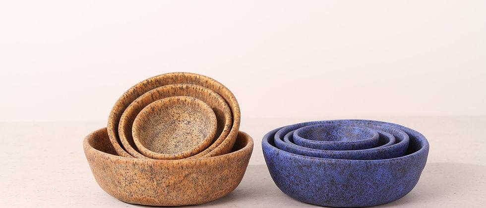 Matte brown handmade ceramic cat bowl