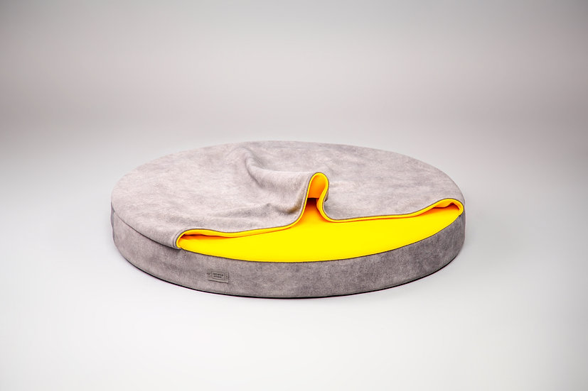 Dog cave bed! Round and orthopedic. Velvet grey and yellow