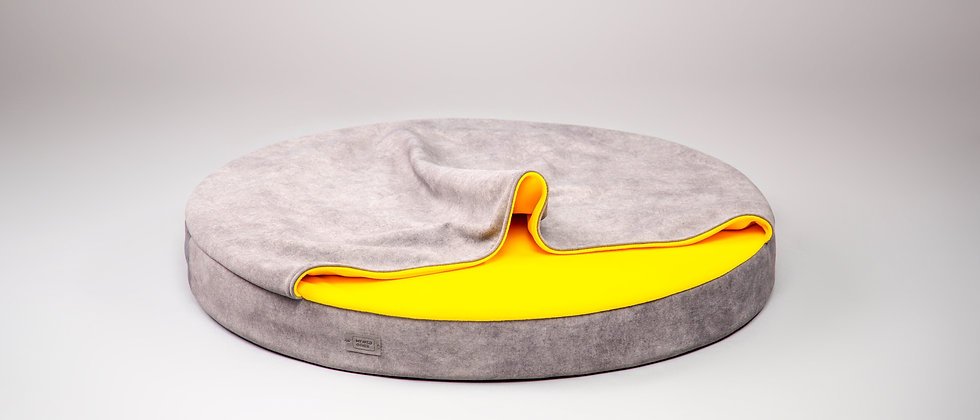 Cat cave bed! Round and orthopedic. Velvet grey and yellow