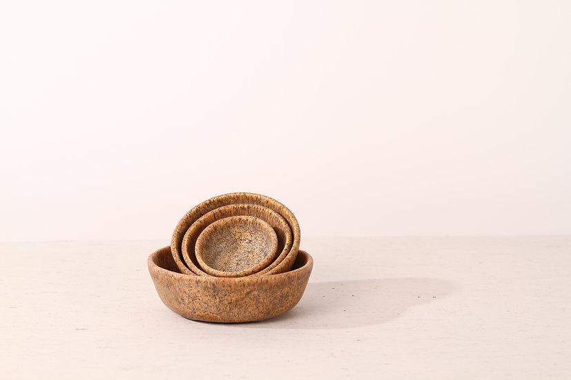Pair of matte brown handmade ceramic dog bowls