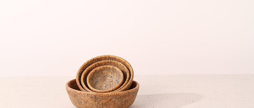 Pair of matte brown handmade ceramic cat bowls