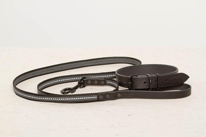 Bundle. Full-grain, black leather dog collar and matching leash
