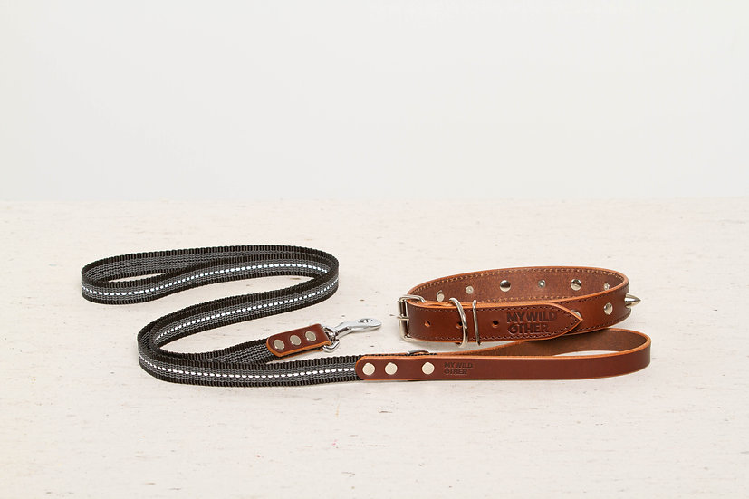 Bundle. Full-grain, brown studded & spiked leather dog collar and matching leash