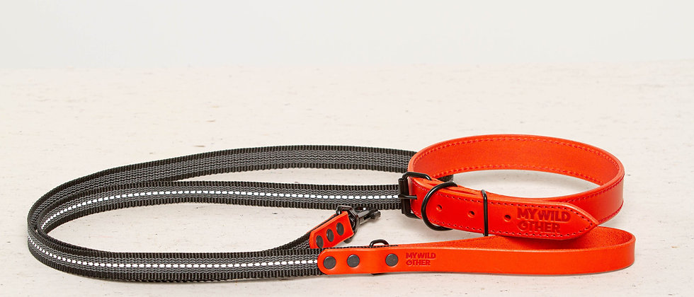 Bundle. Full-grain, red leather dog collar and matching leash