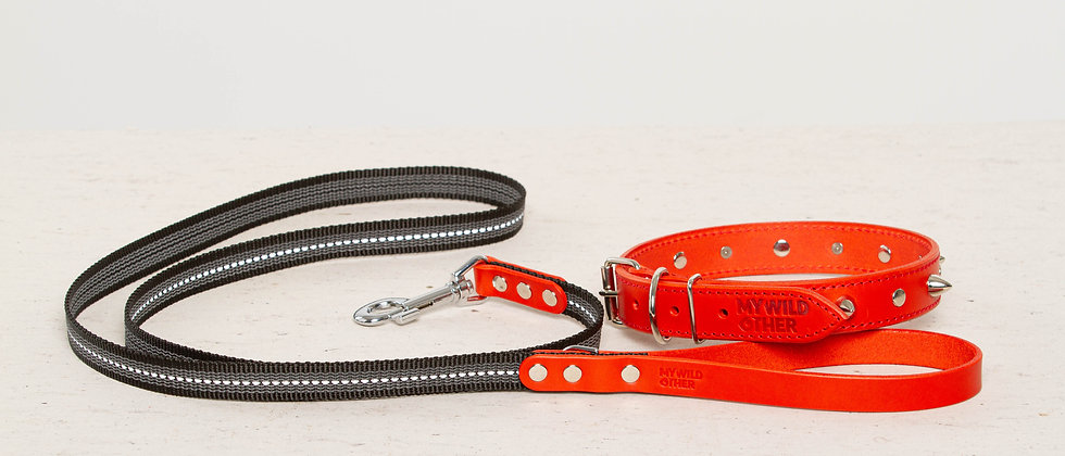 Bundle. Full-grain, red studded & spiked leather dog collar and matching leash