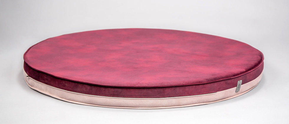 Round 2-sided! Velvet-look, orthopedic dog bed. Pink/wine red, easy clean