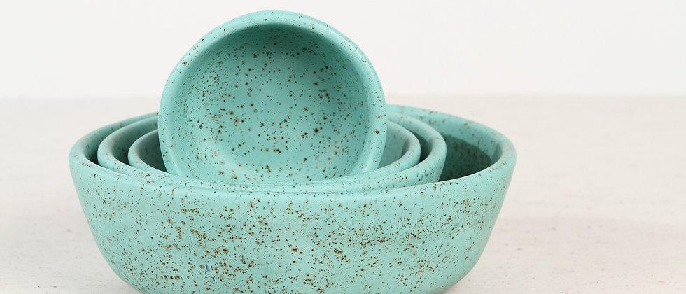 Pair of turquoise handmade ceramic cat bowls