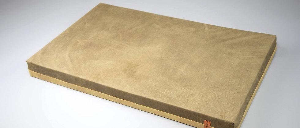 2-sided! Velvet-look, orthopedic dog bed. Olive/khaki green, easy clean