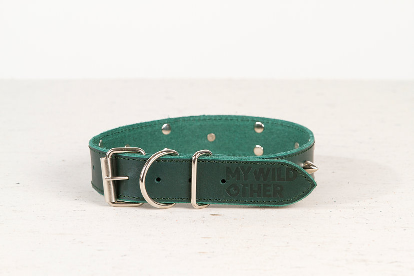 Full-grain, green, studded & spiked leather dog collar