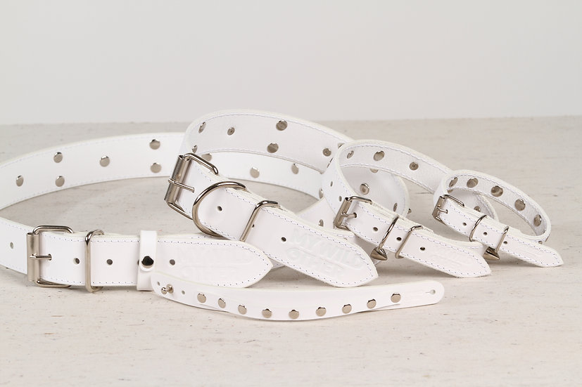 Bundle. Full grain, studded & spiked white leather dog collar and wristband