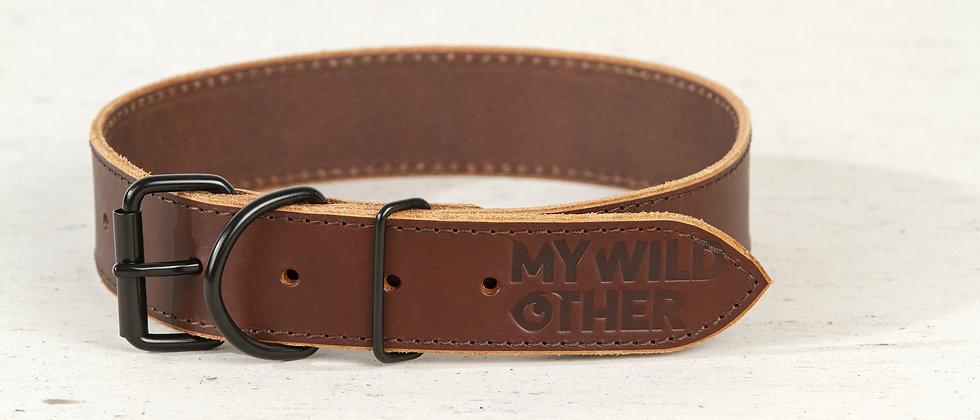 Full-grain, brown leather dog collar