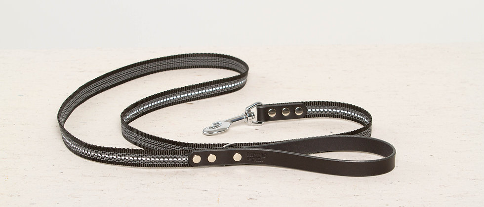 Reflective, rubber covered black leather dog leash, nickel