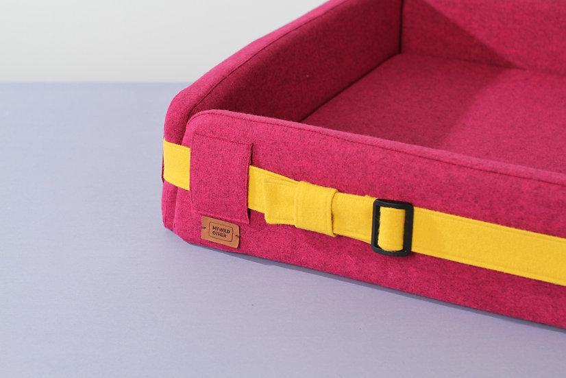 Woolen pink orthopedic dog bed with funky belt
