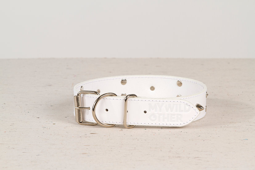 Full-grain, white, studded & spiked leather dog collar