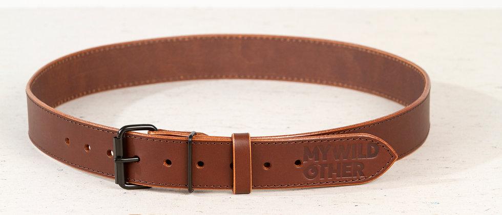 Human's belt black on brown