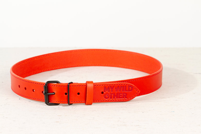 Human's belt black on red