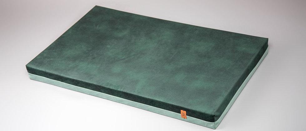 2-sided! Velvet-look, orthopedic dog bed. Mint/moss green, easy clean