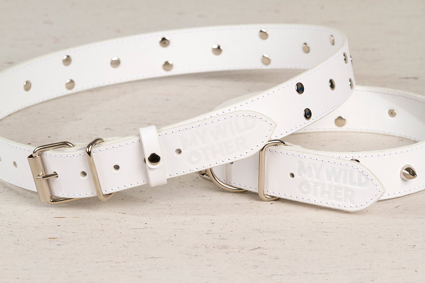 Bundle. Full grain, studded & spiked white leather dog collar and belt