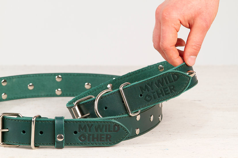 Bundle. Full grain, studded & spiked green leather dog collar and belt