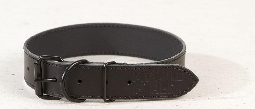 Full-grain, black leather dog collar