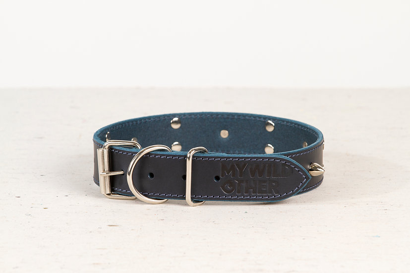 Full-grain, blue, studded & spiked leather dog collar