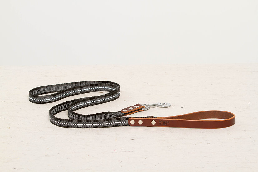 Reflective, rubber covered brown leather dog leash, nickel