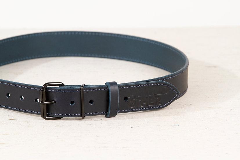 Human's belt black on blue