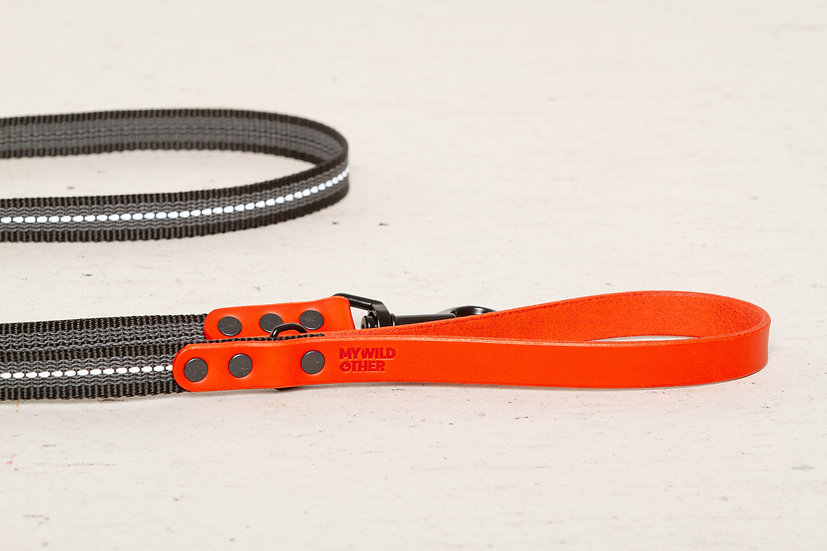 Reflective, rubber covered red leather dog leash