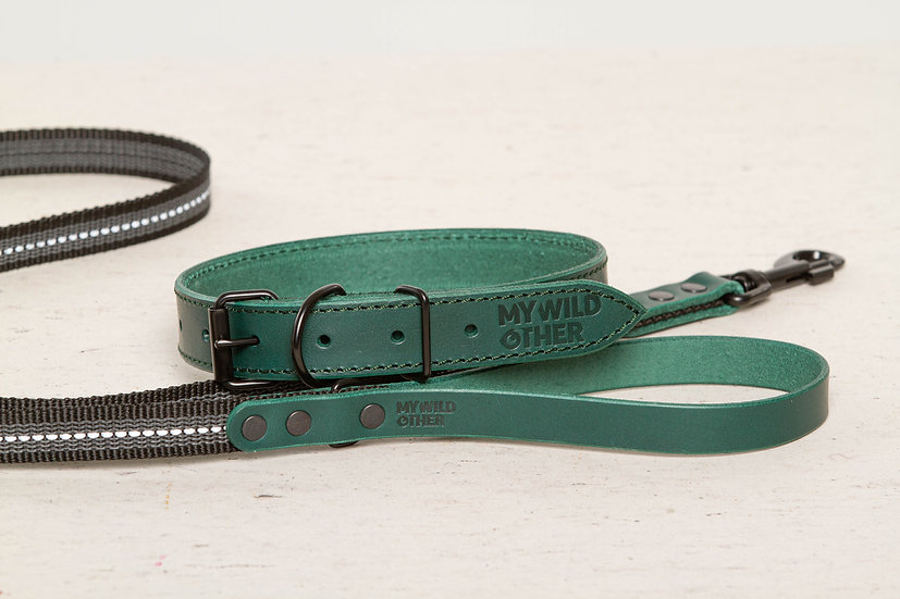 Bundle. Full-grain, green leather dog collar and matching leash