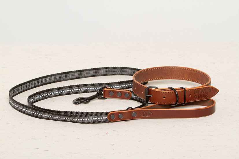 Bundle. Full-grain, brown leather dog collar and matching leash