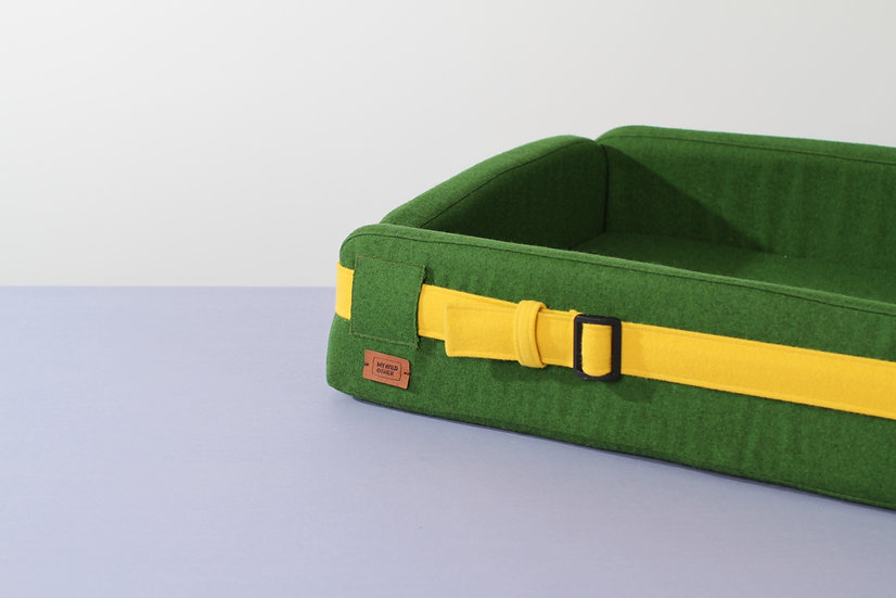 Woolen green orthopedic dog bed with funky belt