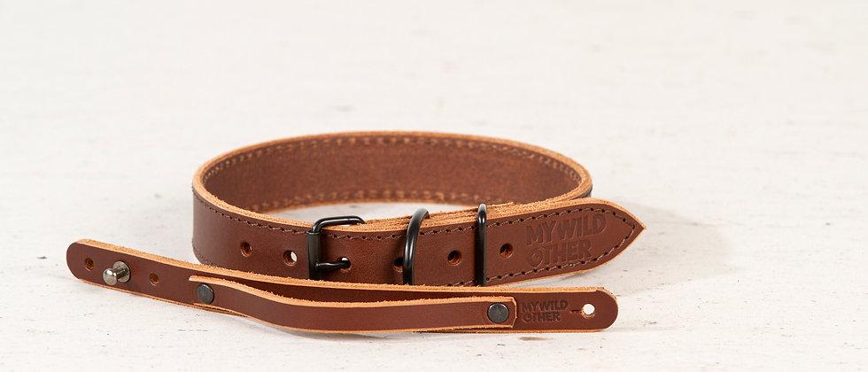 Human's wristband black on brown