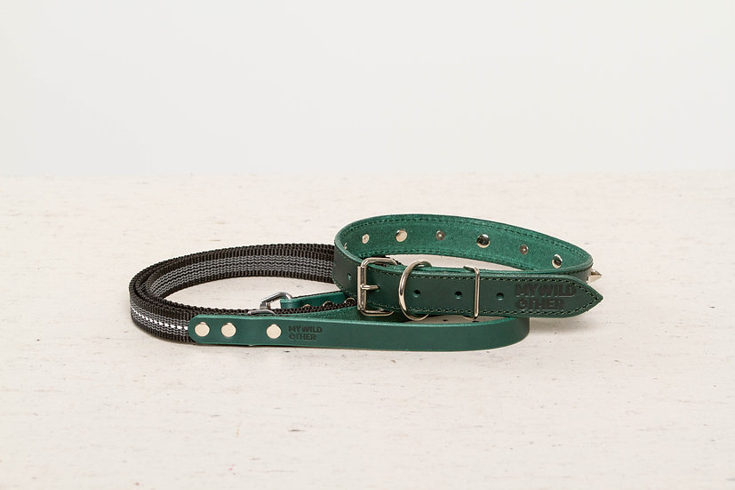 Bundle. Full-grain, green studded & spiked leather dog collar and matching leash