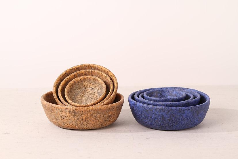 Matte blue handmade ceramic cat bowl