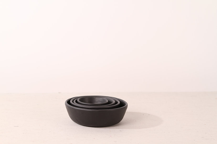 Matte black handmade ceramic dog bowl