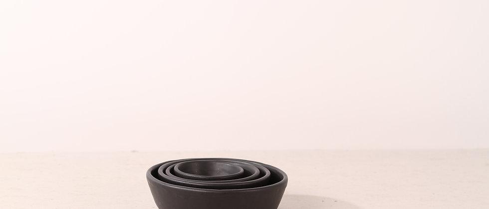 Matte black handmade ceramic dog bowl
