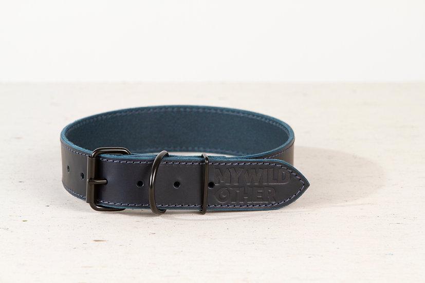 Full-grain, blue leather dog collar