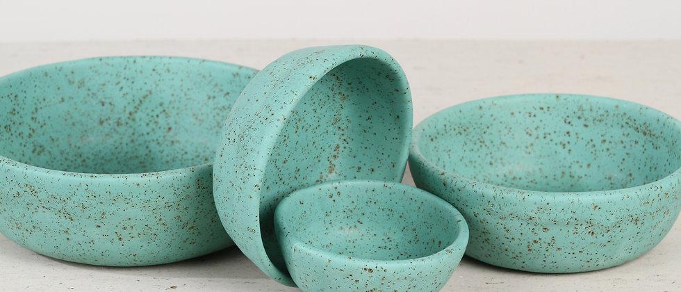 Pair of turquoise handmade ceramic dog bowls