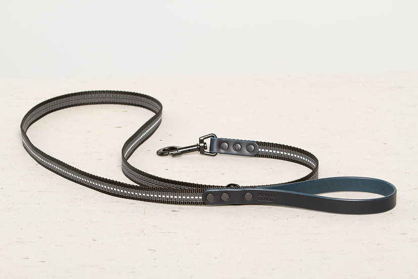 Reflective, rubber covered blue leather dog leash