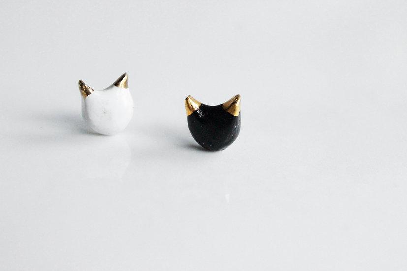 Caramel Ceramics One black & one white CAT studs