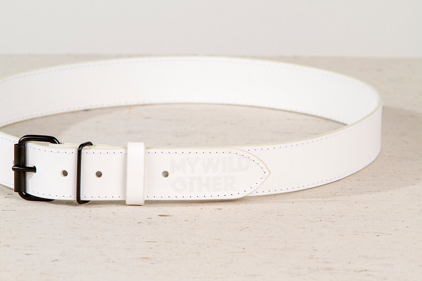 Human's belt black on white