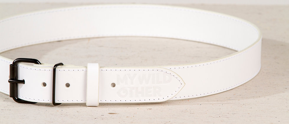 Human's belt black on white