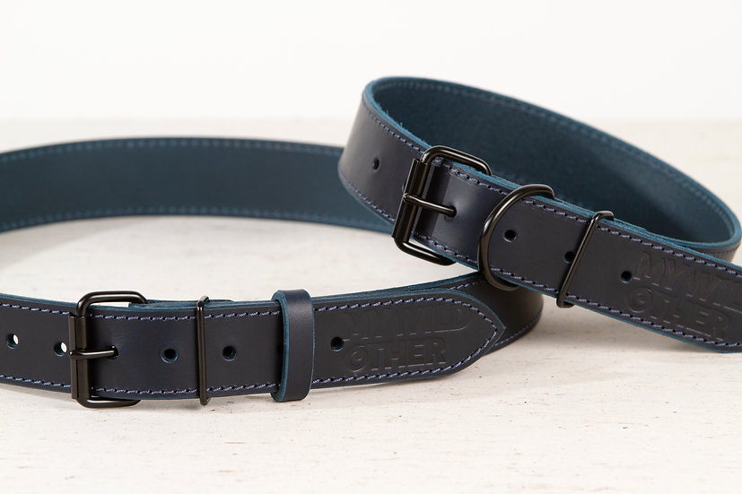 Bundle. Full grain, blue leather dog collar and matching belt