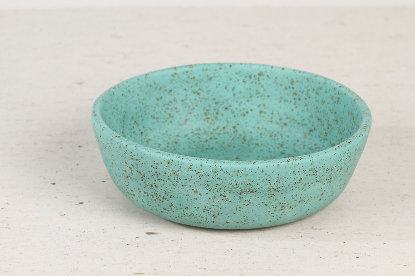 Turquoise handmade ceramic cat bowl